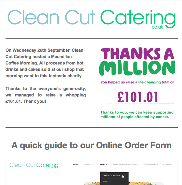 Clean Cut Catering Newsletter October